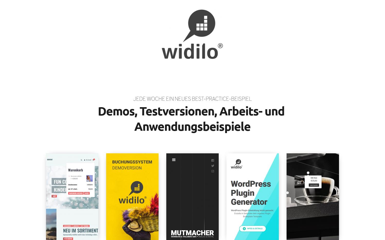 widilo Demoversionen, Best-Practice, Work, Arbeitsbeispiele, Gutscheine, Onlineshops, Buchungssystem